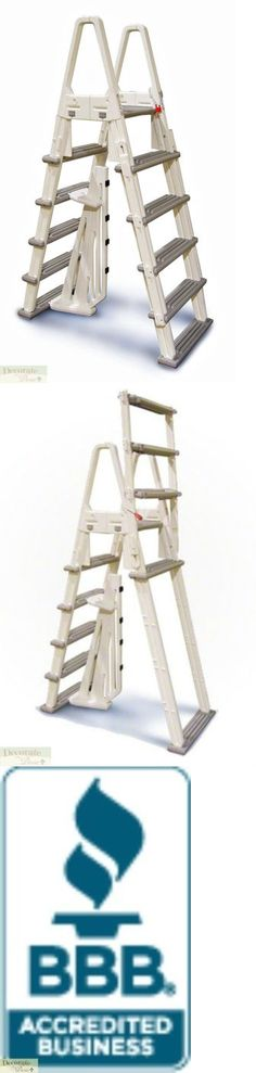 Pool Ladder 4-Step Aluminum Corrosion Resistant A-Frame with Safety Barrier