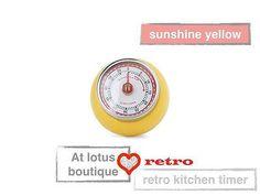 Yellow speedometer kitchen timer - retro vintage design - steel magnetic timer