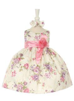 Sleeveless Floral Dress with Satin Sash