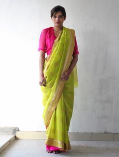 Lime Green Golden Pink Chanderi & Zari Marigold #Saree By Raw Mango. Available Online At Jaypore.com.