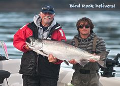 Bird Rock Delivers! Huge 44 pound Spring salmon was hooked by John McNight and guide Mike Orlowski off Bird Rock, Haida Gwaii. http://www.peregrinelodge.com/blog.php?p=228
