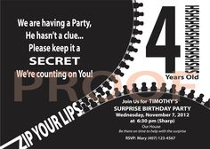 surprise party, funny, any age, zipper, zip your lips, secret, black and white, fun by TuttoCuoreDesigns on Etsy