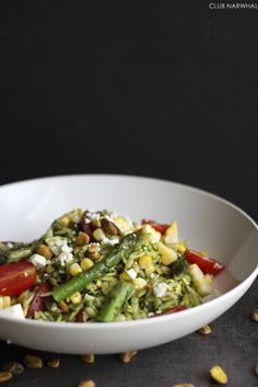 Orzo Salad with Asparagus, Feta, and Pistachios