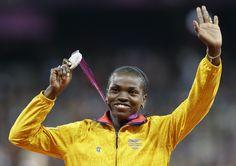 Caterine Ibargüen, medalla de plata en salto triple.