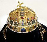This is a photograph of the Holy Crown of Hungary. Byzantine Gold, Saint Stephen, Hagia Sophia, Crown Jewels, Royal Jewels, Enamel Jewelry, My Heritage, Gemstone Colors, Gemstones