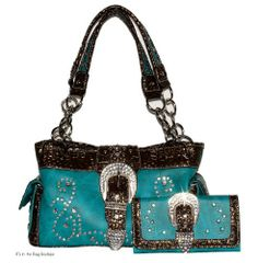 Concealed Carry Purse with Matching Wallet - Turquoise