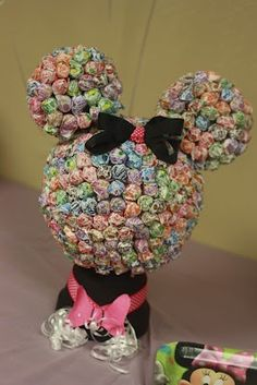 Minnie Mouse birthday decoration and candy display on dessert table- hot glue foam balls and paint dollar store flower pot turn upside down and hot glue foam head to it.