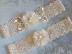 Color Choice Wedding Garter Set, Lace Wedding Garter, Ivory Flower Garter Set, Bridal Garter Belts, Ivory Garder, Rhinestone Garter Set by bridalambrosia on Etsy