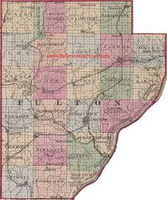 Fulton County, Illinois 1870 Map Lewistown, Canton, Farmington, Cuba, Table Grove, Ipava, Vermont, Astoria, Summum, IL