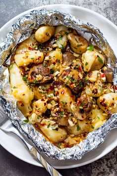 Garlic Butter Mushroom and Gnocchi in Foil - foil packets for the grill