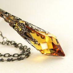 Amber Topaz Crystal Necklace Antique Gold Brass Necklace Swarovski Crystal Golden Icicle Necklace