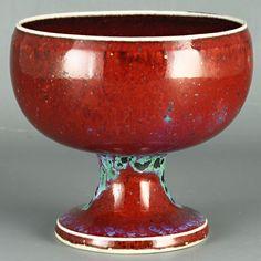Stig Lindberg (1981) Unique wine-red goblet vase