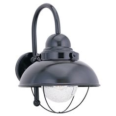 Sea Gull Lighting�11-1/4-in Black Outdoor Wall Light $117.09 each at Lowes...really like as a unique coastal bathroom vanity light option