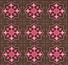 brown Michael Miller fabric pink tiles Temple Tiles  beautiful brown fabric with pink embellished tiles by Patty Young from the USA