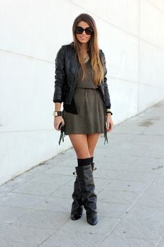 I just really like this leather jacket and over-the-knee socks. But, she does need some color!