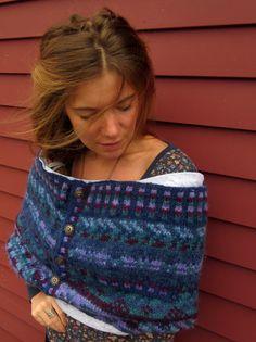 Purple and Blues Chunky Knit Wool Fair Isle Sweater Cowl Neckwarmer/Shawl/Wrap/Hood/Shrug By MountainGirlClothing.