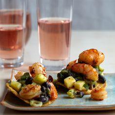 Tequila-Flamed Shrimp Tostadas Recipe - Sue Torres | Food & Wine