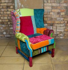 Furnitures, : Patchwork Wingback Chair Skin Colorful Design