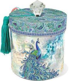 Paisley Peacock Toilet Tissue Holder $16.99 www.AllThingsPeacock.com