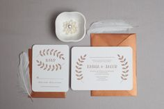 Garland Wedding Invitation, shown letterpress printed on cotton paper in copper ink.  www.wickedbride.com, photo by Amie Fedora Photography