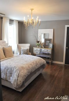 Our Gray Guest Bedroom and a Full Source List by Dear Lillie (Greystone Benjamin Moore).Matt Finish. Black door: Benjamin Moore: Mudslide.