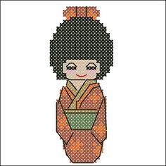 Aki - Autumn Kawaii Kokeshi Doll Japan Cross Stitch Pattern
