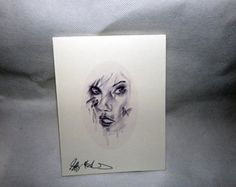 Woman pencil sketch note cards and art