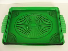 Vintage Green Depression Glass Serving Tray w/ by marketsquareus