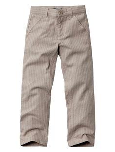 Boy's Linen/Cotton Trousers Grey stripe+Chestnut+Sand stripe