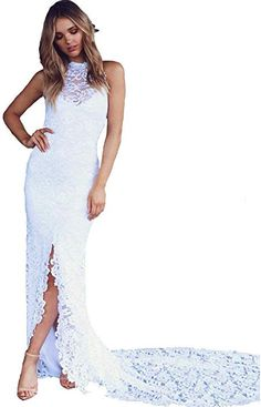 5691dcdafc19 xiaoquya Full Lace High Neck Slit Beach Wedding Dress for Bride Open Back Bridal  Gown at Amazon Women s Clothing store