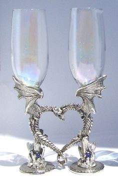 Dragon Heart Glasses - $150 - The perfect pair of champagne flutes for lovers!