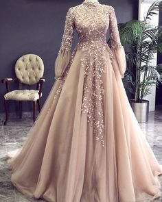 Champagne Prom Dress, High Neck Prom Dress, Vintage Prom Dress, Beaded Prom Dress, Lace Applique Pro on Luulla Hijab Prom Dress, Muslimah Wedding Dress, Hijab Evening Dress, Muslim Wedding Dresses, Elegant Prom Dresses, Beaded Prom Dress, Dress Lace, Muslim Prom Dress, Hijab Bride