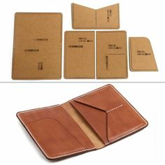 Handmade Leather Wallet, Leather Card Wallet, Leather Gifts, Leather Craft Kits, Leather Diy Crafts, Leather Bag Pattern, Sewing Leather, Bag Patterns To Sew, Sewing Patterns