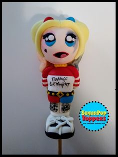 Harley Quinn birthday cake topper set / Harley Quinn fondant cake topper / Harley Quinn party / Harley Quinn cake decorations etsy.com/shop/sugarpoptoppers
