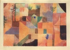 Paul Klee (1879-1940), Landschaft in Orange, mit braunen Tiefen strenge Farbenrhythmik (mit Tannen und Grasbüscheln) [Landscape in Orange with Brown Colour Rhythm], 1920 (15). Watercolour on paper. 17.8cm H x 25.3cm W.