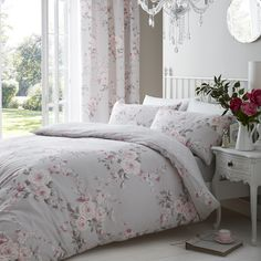 Canterbury Grey Duvet Cover Catherine Lansfield is a Grey & Pink floral duvet cover, this bedding set is reversible with a white polka dot design. Comforter Cover, Duvet Bedding, Bedding Sets, Duvet Covers, Pink Comforter, Chic Bedding, Linen Duvet, Grey Duvet, Bedroom Decor