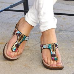 White Mountain Shoes Cordoba Brown Sandal Sequins, seed beads, molded suedette footbed. Online Exclusive! Back by Poplar Demand, a dazzling array of colors make the Cordoba a perfect partner for a multitude of ensembles.