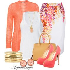 A fashion look from April 2013 featuring red cardigan, racer back tank and pencil skirts. Browse and shop related looks. Mode Outfits, Fashion Outfits, Womens Fashion, Work Fashion, Fashion Looks, Spring Work Outfits, Complete Outfits, Look Chic, Classy Outfits