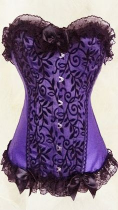 Sexy Purple Corset With Black Lace #Lingerie