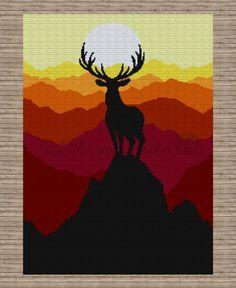 Deer at Sunset Blanket Crochet Blanket Crochet Deer C2c Crochet Blanket, Graph Crochet, Crochet Deer, Crochet Quilt, Tapestry Crochet, Crochet Patterns, Crochet Ladybug, Crochet Crafts, Crochet Projects
