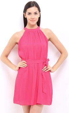 Flat 42% Off On Zink London Pink A-Line Dress