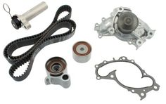 Aisin TKT-024 Engine Timing Belt Kit with Water Pump. Improved strength in body design and carbon ceramic mechanical seals assures leak prevention. The highest quality materials are used, creating stronger body design and resistance to corrosion. Aisin takes pride in being the number one water pump supplier to Japanese automobile manufactures. Aisin water pumps provide optimal cooling without creating excess load to the engine, and the advanced aluminum die-cast technology allows...