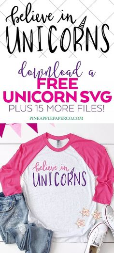Download 16 FREE Unicorn SVG Cut Files for Cricut & Silhouette in the Totally Free SVG Blog Hop! Believe in Unicorns Hand Lettered SVG by Pineapple Paper Co. #cricut #silhouette #silhouettecameo #cricutmade #cricutmaker #freesvgs #freesvg #svgfiles #svgdesigns #cricutsvgs #freecutfiles #unicornshirt #unicornsvg #totallyfreesvg Cricut Vinyl, Svg Files For Cricut, Cricut Fonts, Silhouette Machine, Silhouette Cameo, Got Party, Diy Party Supplies, Cool Diy Projects, Vinyl Projects