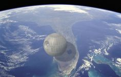This wonderful photo series comparing the size of things by Kevin Wisbith is a really fun way to earn some brain wrinkles, because it gives you a better sense of the true size of random buildings, ships, machines, and other objects. You get to see things like the Death Star hover over Florida in space, a B-2 bomber stretch across the width of an entire football field, and the Titanic lay out on top of a freaking aircraft carrier.