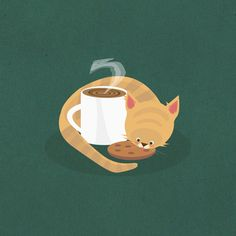 Tea & Kittens by Matty Spencer - my cat always comes up to smell my coffee in the morning, must be the cream in it! Cat Paws, Dog Cat, Cat Feeder, Cattery, Sleepy Cat, Illustrations, Coffee Art, Cute Illustration, Cat Love