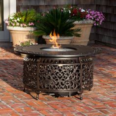 Round Outdoor Propane Firepit Table
