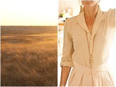 Neutral tone dress and necklace
