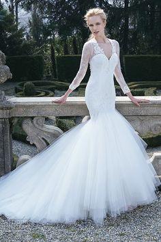 jillian 2016 bridal gowns beautiful long sleeves v neckline mermaid wedding dress style clara #mermaidweddingdress #weddingdresses