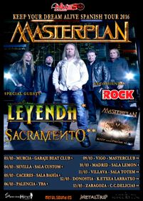 LEYENDA y SACRAMENTO invitadas para la gira de MASTERPLAN para 2016