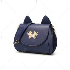 Metal Butterfly Cat Ear Crossbody Bag (42 CAD) ❤ liked on Polyvore featuring bags, handbags, shoulder bags, butterfly purse, crossbody handbags, cross body, dark blue purse and butterfly handbags